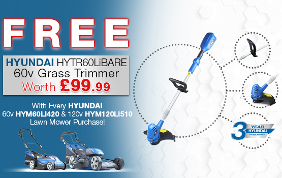 Free line trimmer with Hyundai Battery Powered Lawnmowers