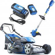 Hyundai HYM120LI510 Cordless Self Propelled Lawnmower & Line Trimmer Bundle