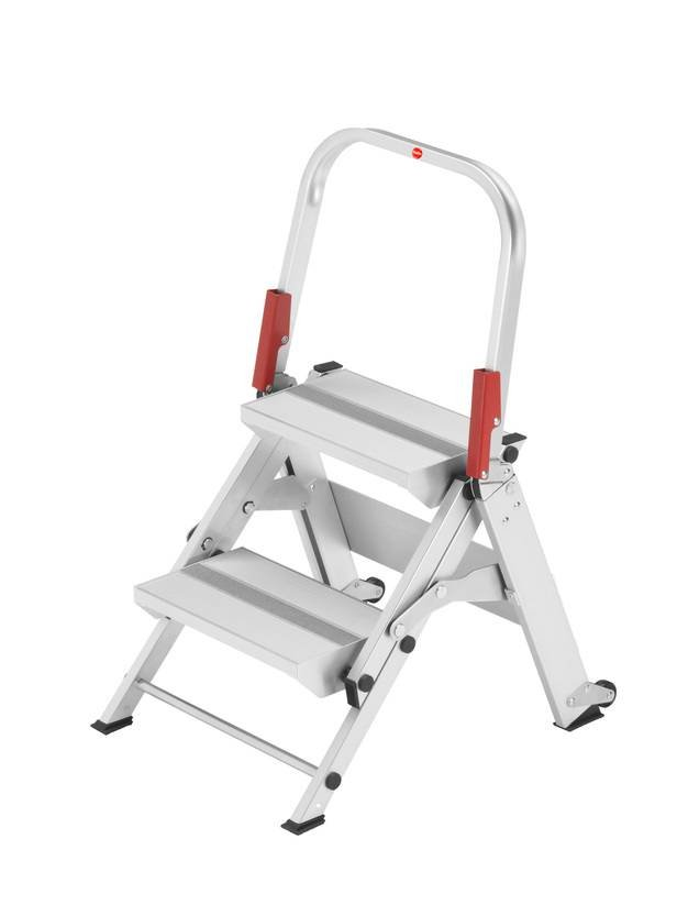 Hailo ST100 Topline Folding Step Ladder with Intergrated Rollers - 2 Step
