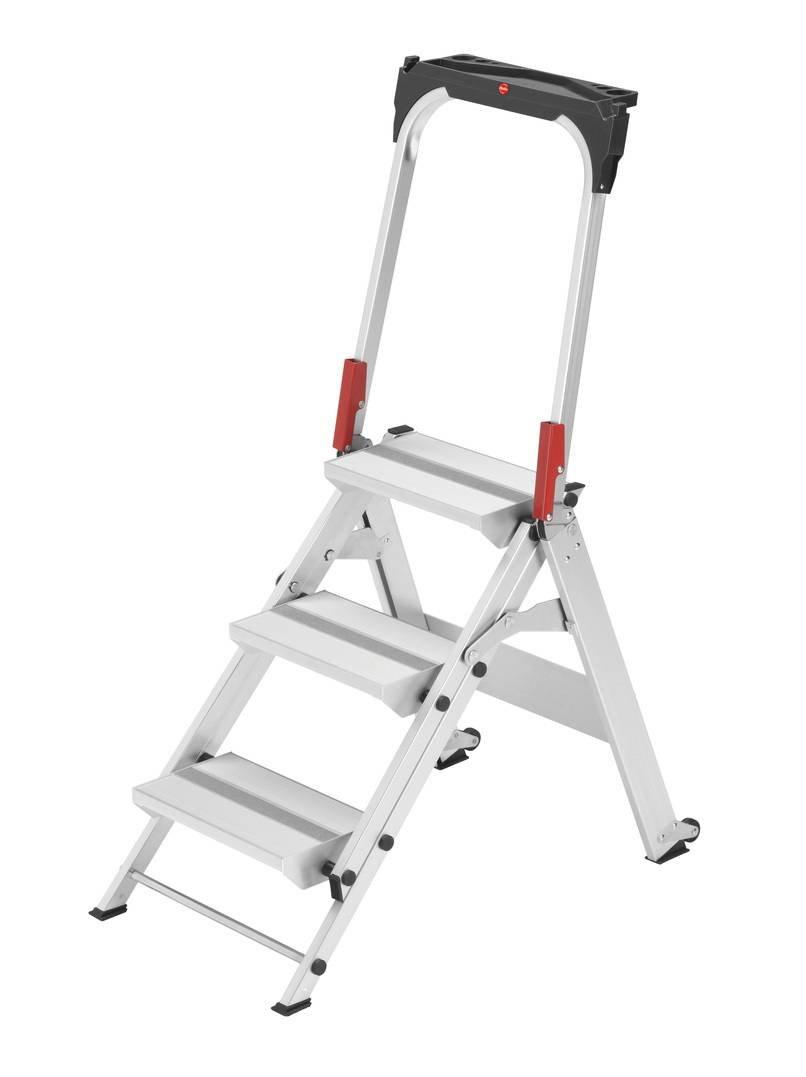 Stupendous Hailo St100 Topline Folding Step Ladder With Intergrated Theyellowbook Wood Chair Design Ideas Theyellowbookinfo