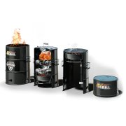 Batavia 4Grill 4 in 1 Barrel BBQ (Black) - Grill, Smoker, Cooker & Fire Pit